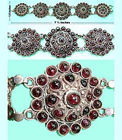 Sterling bracelet with decorative garnet