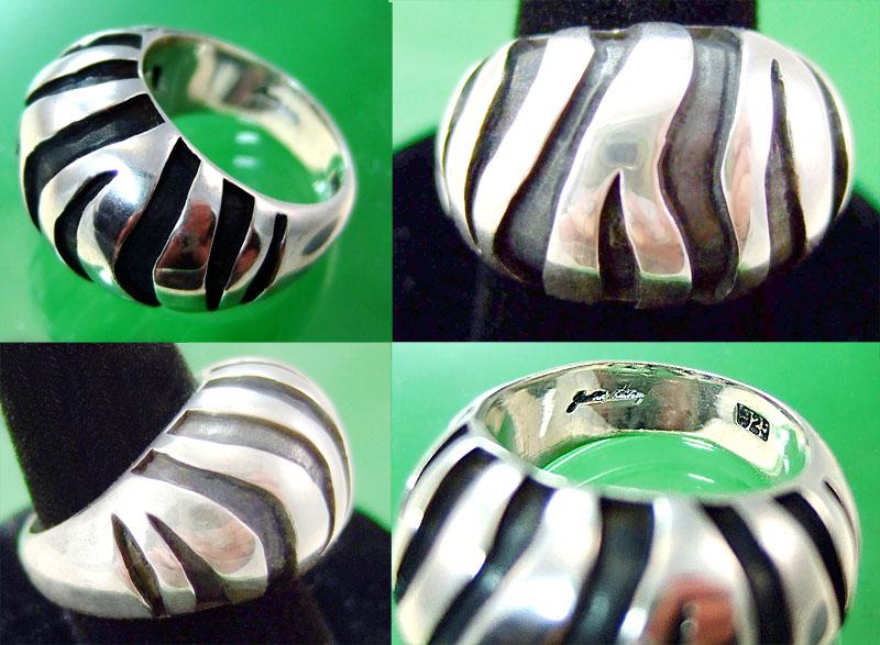 Judith Leiber sterling Zebra ring