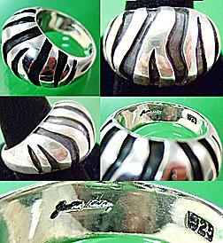 Judith Leiber sterling Zebra Dome Ring
