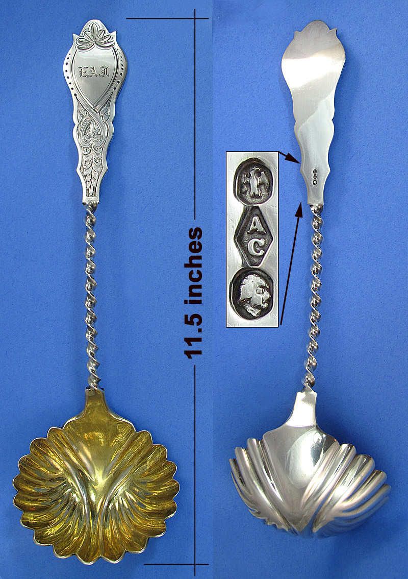 Albert Coles large coin silver ladle