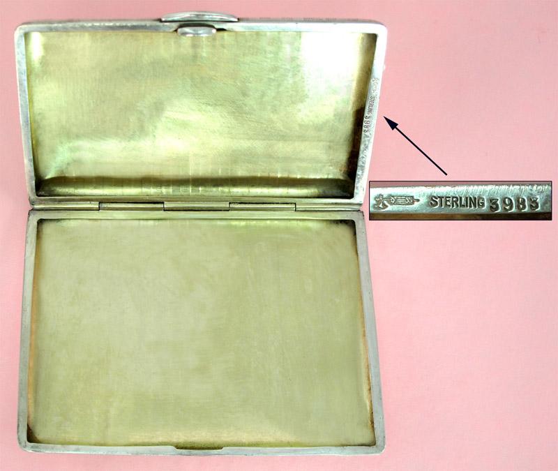 Kerr Sterling Cigarette Case inside